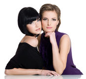 Two beautiful glamour young women royalty free stock photo