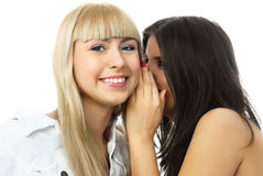 Two beautiful gossiping girls Stock Images