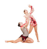 Two beautiful gymnasts dancing Royalty Free Stock Image