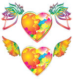 Two beautiful heart with wings Stock Photo
