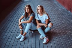 Two beautiful hipster girls sitting on a skateboard at a sidewalk under bridge. royalty free stock image