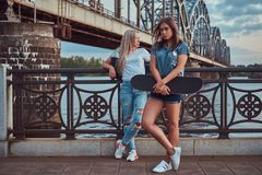 Two beautiful hipster girls standing with skateboard against a bridge. royalty free stock photos