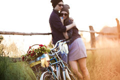 Two beautiful hipsters standing outdoor Stock Images