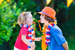 Two beautiful kids Dutch football supporters Stock Photography