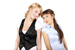 Two beautiful laughing sexy and smiling girls Stock Photography