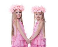Two beautiful little girls in pink dresses Stock Photo