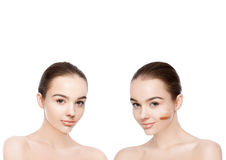 Two beautiful models with natural beauty makeup Stock Photo