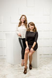 Two beautiful models posing in studio against white wall Royalty Free Stock Photos