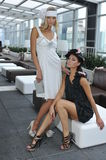 Two beautiful models wearing designers dresses Royalty Free Stock Photo