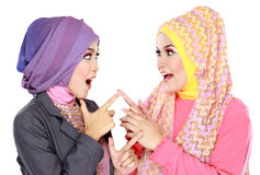 Two beautiful moslem woman having fun together Stock Photography