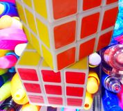 two beautiful multi-colored boolean cube royalty free stock image