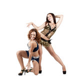 Two beautiful naughty go-go dancers Stock Photography