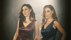 Two Beautiful opera singer girl. 4k Portrait close up of the artist singer. stock video