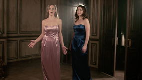 Two Beautiful opera singer girl. 4k Portrait close up of the artist singer. stock video footage