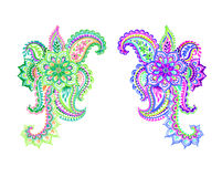 Two beautiful  paisleys. Colorful  paisleys with flowers and lace. Hand drawn watercolor decor motives. Traditional indian design elements Royalty Free Stock Images