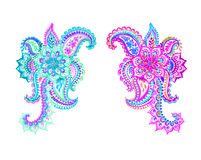 Two beautiful  paisleys. Colorful  paisleys with flowers and lace. Hand drawn watercolor decor motives. Traditional indian design elements Stock Photo