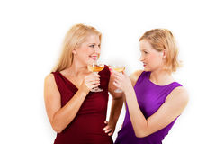Two beautiful party woman drinking champagne Royalty Free Stock Image