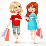 Two beautiful pregnant woman with shopping bags flow along Royalty Free Stock Photos