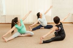 Two beautiful pregnant women doing yoga with a trainer Stock Image