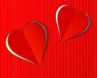 Two beautiful red Valentine Love hearts paper cut style Royalty Free Stock Image