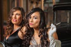Two Beautiful Retro Women Stock Photos