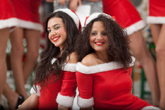 Two beautiful Santas Stock Images