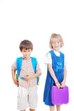 Two beautiful schoolkids Stock Images