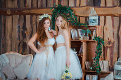 Two beautiful sensual brides standing in vintage Stock Photo