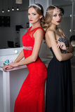 Two beautiful sexy elegant girl in a red and black evening dresses with bright evening make-up evening hairstyle and ticks on his Stock Photo