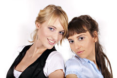 Two beautiful and smiling girls Stock Photography