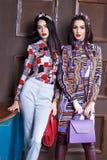 Two beautiful sexy woman brunette hair wear fashion Stock Photo