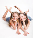 Two beautiful sisters stock images