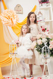 Two beautiful sisters advertise holiday attire Royalty Free Stock Images