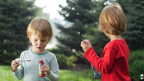 Two beautiful sisters are blowing bubbles in the. Little beautiful happy girl blowing soap bubbles in the park. Summer joy - lovely girl, happy child concept stock video footage