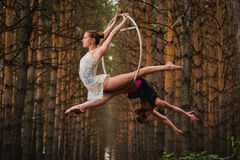 Two beautiful and slim gymnasts doing difficult exercises on aerial ring Royalty Free Stock Photography