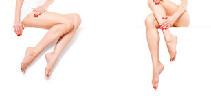 Two Beautiful Slim Womans With Red Manicure, Sitting At Banner Stock Photography