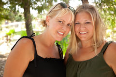 Two Beautiful Smiling Sisters Ourdoor Portrait Royalty Free Stock Photo