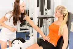 Two beautiful sportwomen make Royalty Free Stock Images