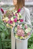 Two beautiful spring bouquet. Young girl holding a flowers arrangements with various of colors. Bright dawn or sunset stock photography