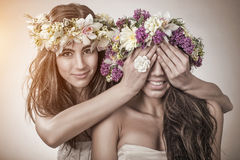 Two beautiful spring fairy, friendship symbol.  Stock Photo