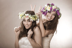 Two beautiful spring fairy , funny, friendship symbol.  Stock Photos