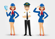 Two beautiful stewardesses and handsome pilot Stock Photo