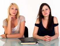 Two beautiful student girls Royalty Free Stock Images