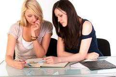 Two beautiful student girls Stock Images