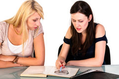 Two beautiful student girls Royalty Free Stock Photography