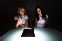 Two beautiful student girls Stock Photo