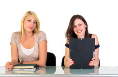Two Beautiful Student Girls Stock Image