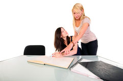 Two beautiful student girls Royalty Free Stock Photo