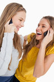 Two beautiful students laughing on the phone. Close-up of two beautiful students laughing on the phone against a white background Royalty Free Stock Images