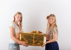 Two beautiful teen girls holding a big present box stock images